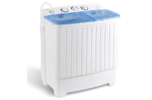 SUPER DEAL 2IN1 Mini Compact Twin Tub 17.6lbs Washer + Spinner Combo, with Timer Control, Drain Hose, Inlet Water Hose and Extra Long Cord