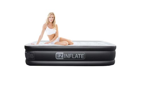 EZ INFLATE Dual Pump Technology Queen air Mattress with Built in Pump, Luxury Queen Size airbed, Inflatable Mattress for Home Camping Travel, Queen Blow up...