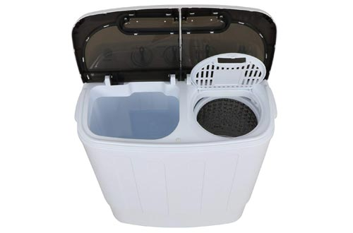 Display4top Mini Portable Washing Machine with Spin Dryer,Compact Laundry Machine w//Drainage Tube and Rotary Controller,White/&Black
