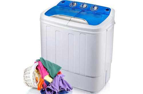 Merax Portable Washing Machine Mini Compact Twin Tub Washer Machine with Wash and Spin Cycle, FCC Verification Approved (Blue&White)