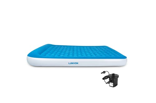 Lunvon Queen Size Self Inflatable Pad Camping Air Mattress Blow Up Bed with Built-in Pillow Anti-Leakage Raised Airbed with Rechargeable Pump for Home,...