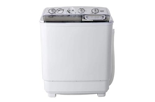 KUPPET Compact Twin Tub Portable Mini 21lbs Capacity, Washer(13lbs)&Spiner(8lbs)/Semi-Automatic (gray)